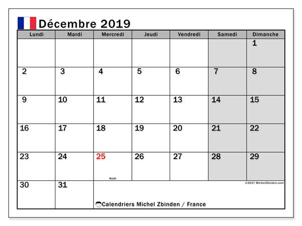 Calendrier décembre 2019, avec les jours fériés de la France. Calendrier Fêtes et jours fériés à imprimer gratuit.