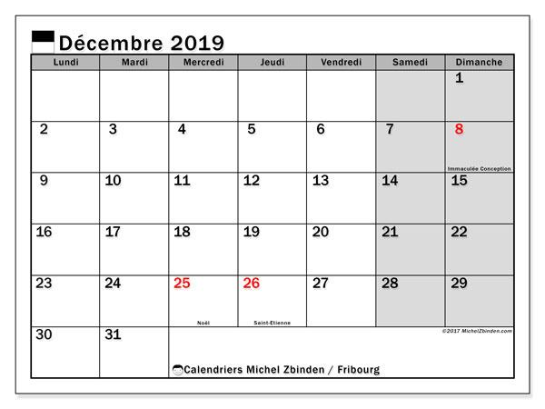 Calendrier décembre 2019, avec les jours fériés du Canton de Fribourg. Calendrier pour le mois à imprimer gratuit.