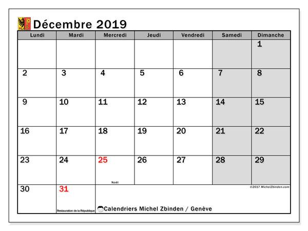 Calendrier décembre 2019 - Genève. Calendrier à imprimer : fêtes et jours fériés.