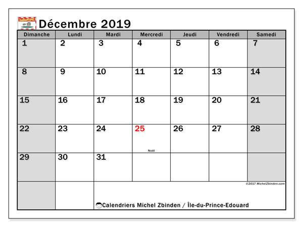 Calendrier décembre 2019, avec les jours fériés de l'Île-du-Prince-Edouard. Calendrier gratuit à imprimer.
