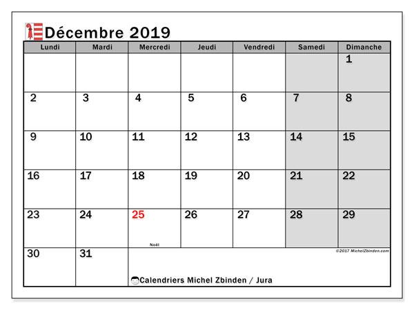 Calendrier décembre 2019 - Jura. Calendrier à imprimer : fêtes et jours fériés.