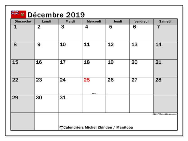 Calendrier décembre 2019, avec les jours fériés du Manitoba. Calendrier mensuel à imprimer gratuit.