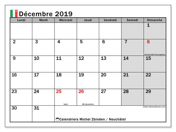 Calendrier décembre 2019, avec les jours fériés du Canton de Neuchâtel. Calendrier Fêtes et jours fériés à imprimer gratuit.