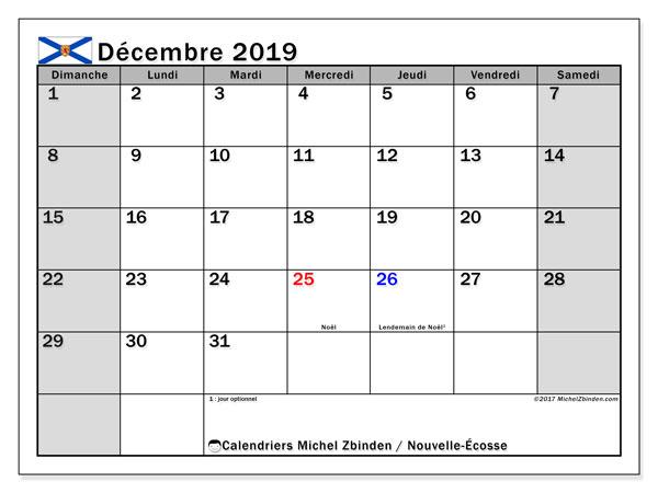 Calendrier décembre 2019, avec les jours fériés de la Nouvelle-Écosse. Calendrier à imprimer gratuit.