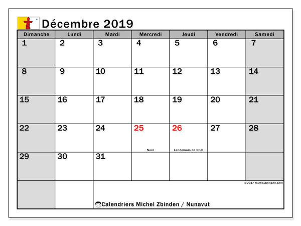 Calendrier décembre 2019, avec les jours fériés de le Nunavut. Calendrier Fêtes et jours fériés à imprimer gratuit.