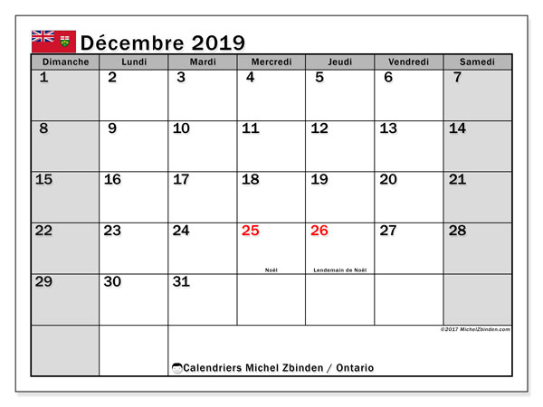 Calendrier décembre 2019, avec les jours fériés de l'Ontario. Calendrier pour le mois à imprimer gratuit.