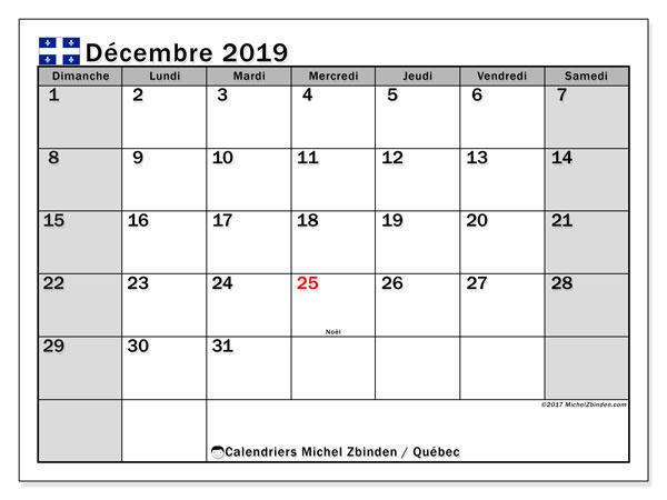 Calendrier  décembre 2019, quebec