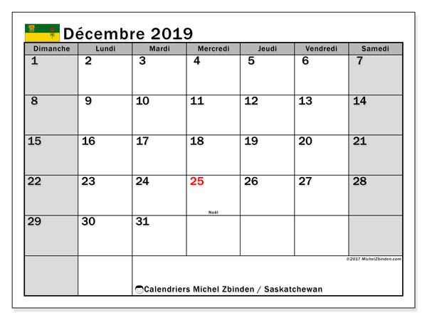 Calendrier décembre 2019, avec les jours fériés de la Saskatchewan. Calendrier mensuel à imprimer gratuit.