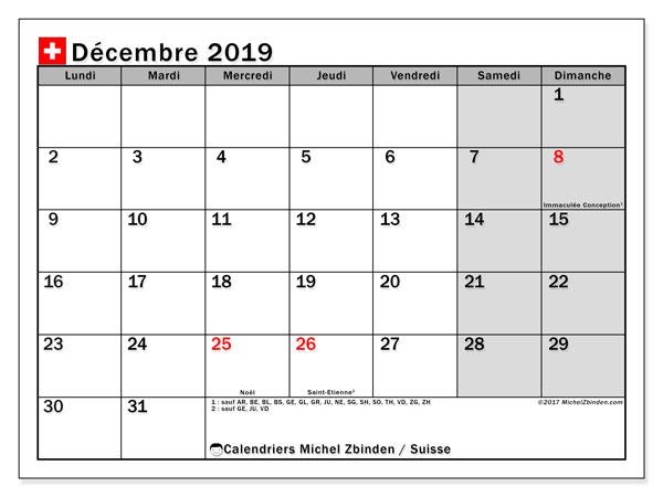 Calendrier  décembre 2019, suisse
