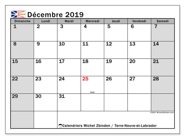 Calendrier décembre 2019, avec les jours fériés de Terre-Neuve-et-Labrador. Calendrier imprimable gratuit.