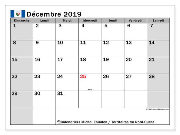 Calendrier décembre 2019 - Territoires-du-Nord-Ouest. Calendrier à imprimer : fêtes et jours fériés.