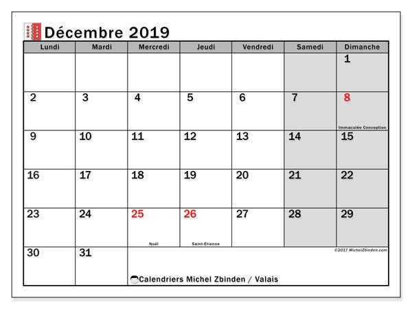 Calendrier décembre 2019, avec les jours fériés du Canton du Valais. Calendrier gratuit à imprimer.