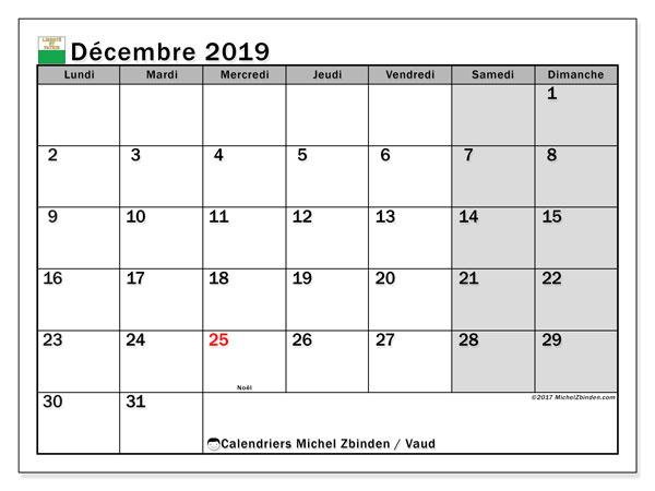 Calendrier décembre 2019, avec les jours fériés du Canton de Vaud. Calendrier Fêtes et jours fériés à imprimer gratuit.