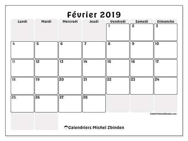 Fevrier Calendrier.Calendriers Fevrier 2019 Ld Michel Zbinden Fr