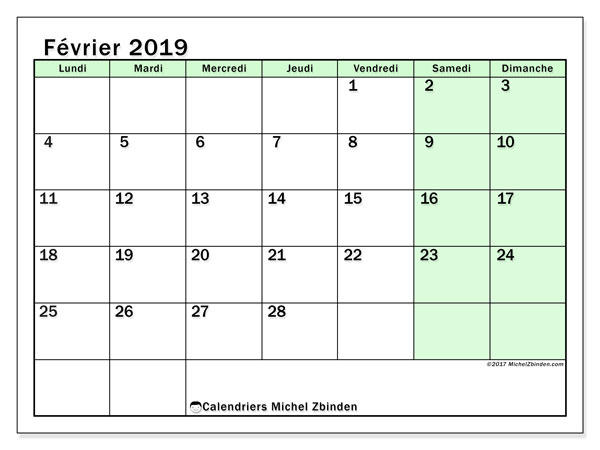 Calendriers février 2019 (LD) - Michel Zbinden FR
