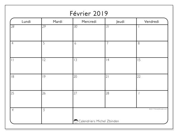 Calendrier février 2019, 74LV. Calendrier à imprimer gratuit.