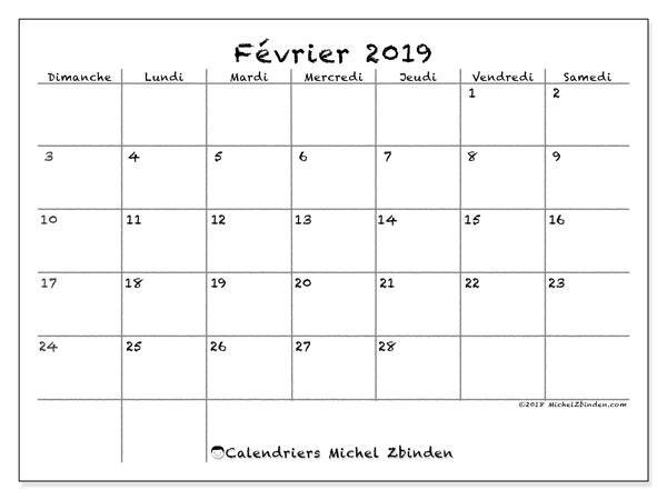 Calendrier février 2019, 77DS. Organisateur à imprimer gratuit.