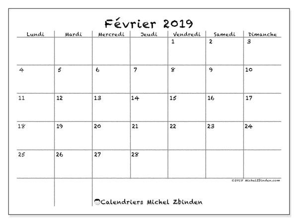 Calendrier février 2019, 77LD. Calendrier gratuit à imprimer.
