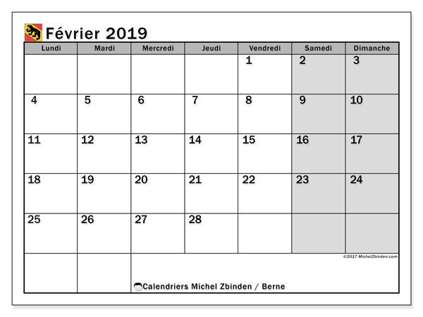 Calendrier février 2019, avec les jours fériés du Canton de Berne. Calendrier imprimable gratuit.