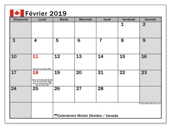 Calendrier février 2019, avec les jours fériés du Canada. Calendrier imprimable gratuit.