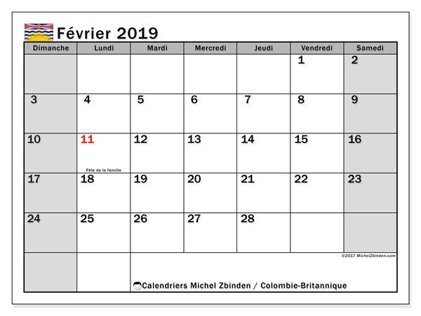 Calendrier février 2019 - Colombie-Britannique. Calendrier à imprimer : fêtes et jours fériés.