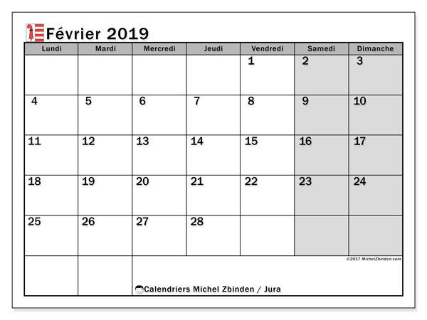 Calendrier février 2019, avec les jours fériés du Canton du Jura. Calendrier mensuel à imprimer gratuit.