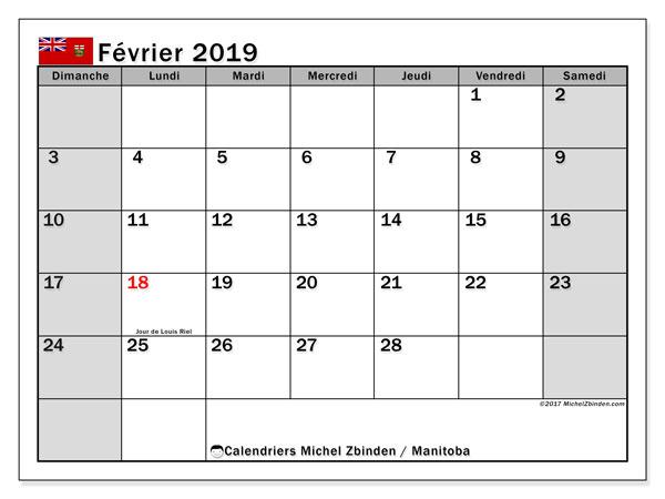Calendrier février 2019 - Manitoba. Calendrier à imprimer : jours fériés officiels.