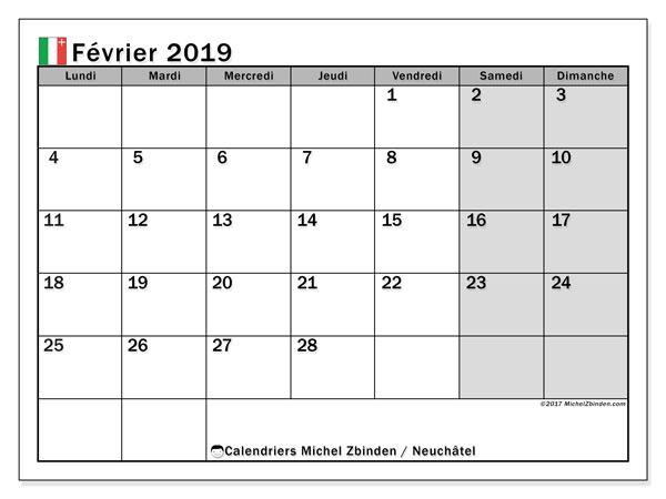Calendrier février 2019, avec les jours fériés du Canton de Neuchâtel. Calendrier gratuit à imprimer.
