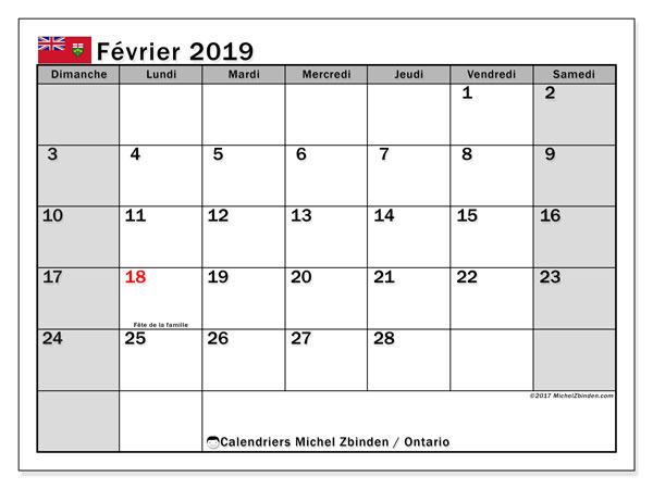 Calendrier février 2019, avec les jours fériés de l'Ontario. Calendrier mensuel à imprimer gratuit.