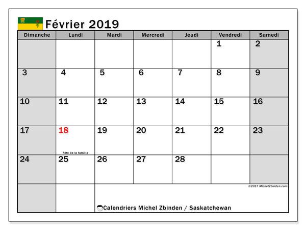 Calendrier février 2019, avec les jours fériés de la Saskatchewan. Calendrier pour le mois à imprimer gratuit.