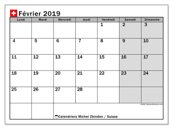 Calendrier février 2019, avec les jours fériés de la Suisse. Calendrier à imprimer gratuit.