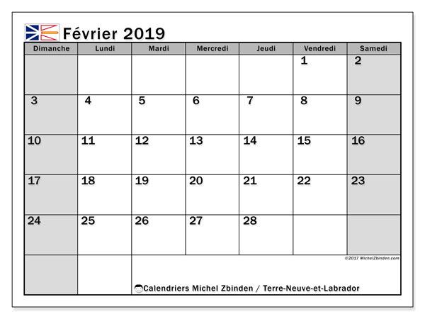 Calendrier février 2019, avec les jours fériés de Terre-Neuve-et-Labrador. Calendrier mensuel à imprimer gratuit.