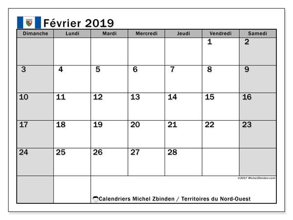 Calendrier février 2019, avec les jours fériés des Territoires du Nord-Ouest. Calendrier pour le mois à imprimer gratuit.