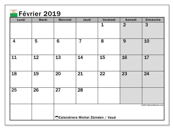 Calendrier février 2019, avec les jours fériés du Canton de Vaud. Organisateur à imprimer gratuit.