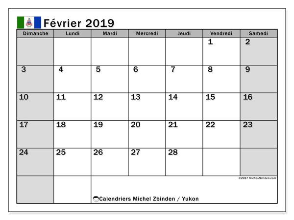 Calendrier février 2019, avec les jours fériés du Yukon. Calendrier imprimable gratuit.