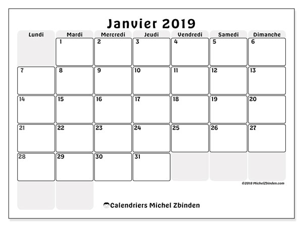 Calendriers janvier 2019 (LD).  44LD.