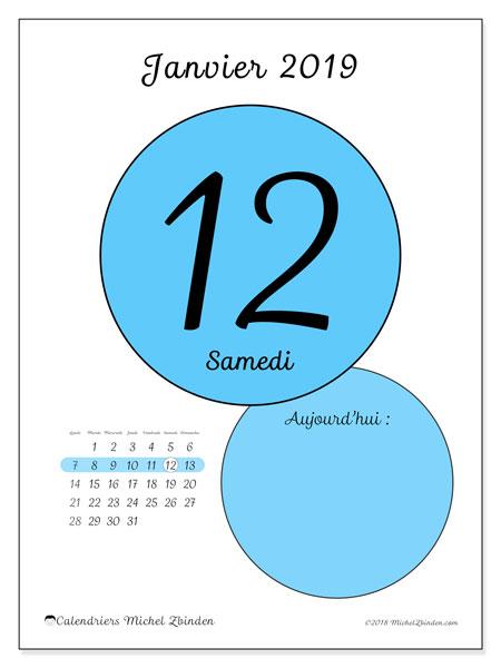 Calendrier janvier 2019, 45-12LD. Calendrier quotidien à imprimer gratuit.