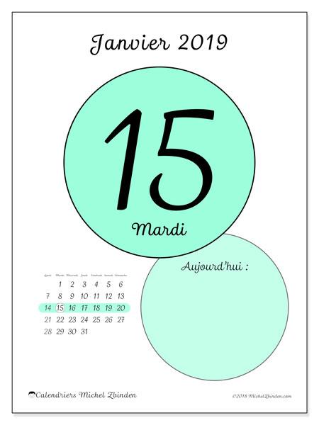 Calendrier janvier 2019 (45-15LD). Calendrier pour la journée à imprimer gratuit.
