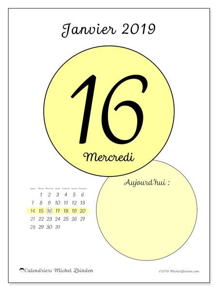 Calendrier janvier 2019 - 45-16LD. Calendrier pour la journée à imprimer gratuit.