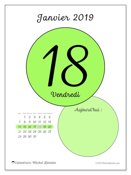 Calendrier janvier 2019 - 45-18LD. Calendrier pour la journée à imprimer gratuit.