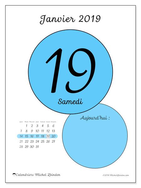 Calendrier janvier 2019 - 45-19LD. Calendrier quotidien à imprimer gratuit.