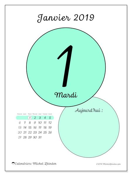 Calendrier janvier 2019, 45-1DS. Calendrier pour la journée à imprimer gratuit.