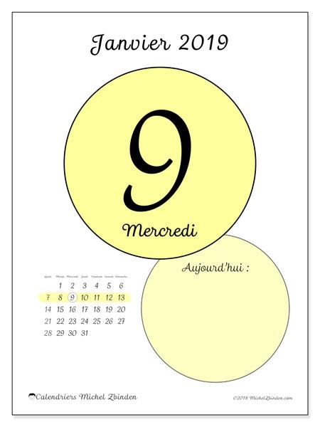 Calendrier janvier 2019 - 45-9LD. Calendrier pour la journée à imprimer gratuit.