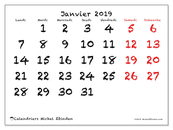Calendriers janvier 2019 (LD).  46LD.