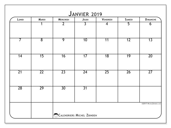 Calendriers janvier 2019 (LD).  51LD.