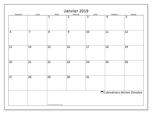 Calendrier janvier 2019 (53DS). Calendrier gratuit à imprimer.