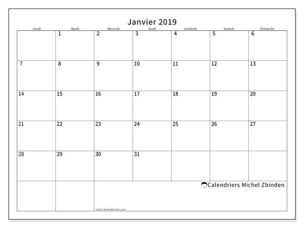 Calendrier janvier 2019 (53LD). Calendrier à imprimer gratuit.