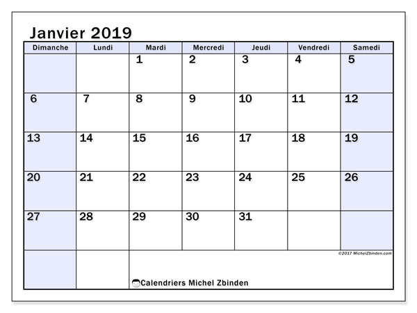 Calendrier janvier 2019 - 57DS. Calendrier imprimable gratuit.