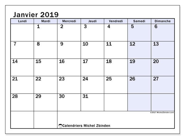 Calendriers janvier 2019 (LD).  57LD.