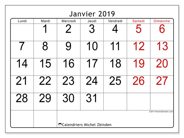 Calendriers janvier 2019 (LD).  62LD.